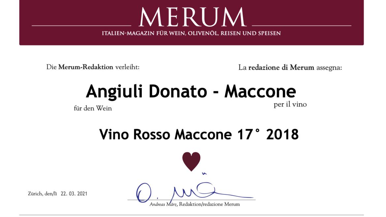 Il Vino Rosso Maccone 17° premiato da Merum